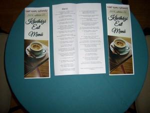 ..és íme a a Kávéházi est menüje: szebbnél szebb dalok és versek, kiváló előadók tolmácsolásában